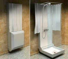 folding-shower- great idea for the outdoor spigots on many pop-up campers!!! love this!!!