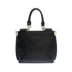 Fashion Large Leather Rhombus Hobo Black $79
