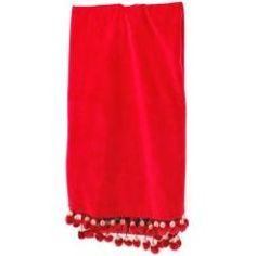 Red Velvet Crystal Pompom tree skirt at the Santa Claus Christmas Store.