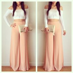 Peach pastel gaucho pants paired with a white crop. Love this look? Visit our site for more fashion! www.dibwa.com 'For the Classy Wild Child' ~ !