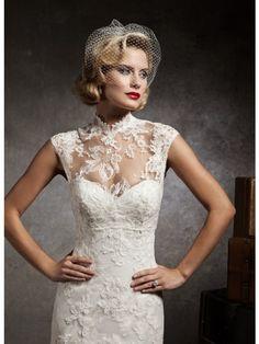 Mermaid/Trumpet Halter Neck Embroidery Court Train Lace Wedding ...