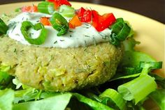 Chickpea-Edamame Burgers with Tahini-Dill Sauce | VegWeb.com, The World's Largest Collection of Vegetarian Recipes