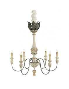 The Leuven chandelier from Aidan Gray has a pale stem, bobeches and pendant in a rustic white finish that beautifully contrast the metal arms and acanthus-leaf ornamentation at its apex in an antique gold leaf finish. French Chandelier, Rustic Chandelier, Vintage Chandelier, Column Lights, Pillar Lights, Chandeliers, Gold Candelabra, Rustic White, White Wood