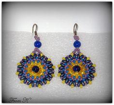 Beaded Earrings, Crochet Earrings, Diy Jewelry, Beaded Jewelry, Twin Beads, Super Duo, Boho Look, Circle Design, Diy Tutorial
