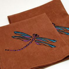 Dragonfly organic cotton and hemp cloth napkins by inkyspider, $20.00