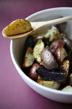 Lemon Dill Potatoes  1 tsp butter  1 lb of petite potatoes (ie. reds, whites, and purples)  1/4 cup olive oil  1/4 cup extra-virgin olive oil   dash of ground pepper  dash of sea salt  1/4 cup Meyer Lemon, squeezed  2 tsp Meyer Lemon peel  4 Tbsp. dill  2 Tbsp. minced garlic