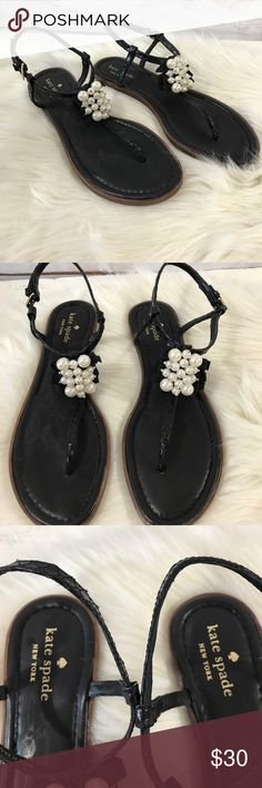 Kate Spade Black Pearl Sandals This is a pair of Kate Spade pearl ankle strap sandals in a size 6.5. These sandals are in good used condition. Thanks! kate spade Shoes Sandals
