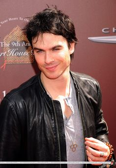 Vampire Diaries actor Ian Somerhalder wearing a custom necklace I made for him, his brother, and his sister. The pendant depicts three hexagonal shapes fused together. Ian and I worked on the concept and design together to create a piece that represents the bond between the three siblings. This piece will be made available in the near future at www.monikavanschellenbeck.com , and a portion of sales will be going to charity. This design is copyright Monika van Schellenbeck 2012