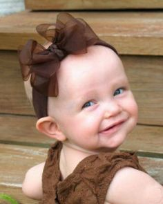 Hair Bows for Babies (15) -- awesome monochromatic brown sheer bow
