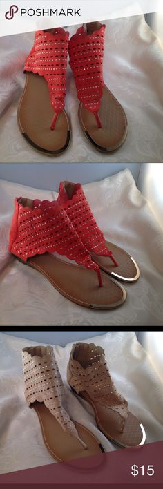 Gladiator Style Sandals NWOT Zipper back, gladiator sandals.  Available in Coral or Beige.  Never worn. Shoes Sandals