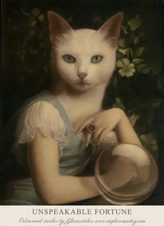 If our animal masks had ancestors we think they'd look like the subjects of these dreamy oil and mixed media paintings by British artist Stephen Mackey. Mackey paints fantasy scenes and formal portraits inspired by 17th and 19th century painters including Dutch master Johannes Vermeer and French Neoclassical painter Jean-Auguste-Dominique Ingres. Anthropomorphic cats, birds, foxes, and rabbits pose for upper class portraits while skeletons woo young brides and witches, ghosts, and…