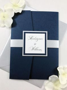 Classic Traditional Calligraphy Script Navy and Silver Wedding invitations, Elegant Flowy Script Navy White and Gray, Silver Belly Band Navy And Silver Wedding Invitations, Traditional Wedding Invitations, Classic Wedding Invitations, Laser Cut Wedding Invitations, Custom Invitations, Cheap Invitations, Invitation Kits, Pocket Invitation, Party