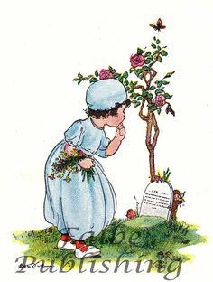 Vintage little girl picking flowers over a grave, $0.99
