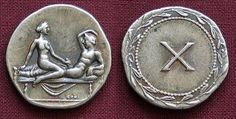 The writings of Roman historian Cassius Dio suggest that these ancient Roman coins may have been used to circumvent a law, upheld by then-Emperor Tiberius, that equated bringing currency bearing the emperor's image into a brothel with treason...