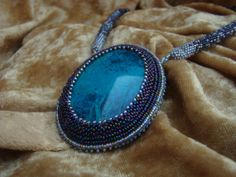 Blue Chalcedony seed bead necklace by familyonbikes on Etsy, $150.00
