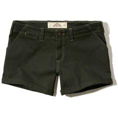 Hollister Twill Midi Shorts ($25) ❤ liked on Polyvore featuring shorts, dark olive, zipper shorts, hollister co. shorts, fold over shorts, twill shorts and shiny shorts