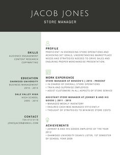 store manager resume template Professional Store Manager Resume - Templates by Canva Online Resume Template, Best Free Resume Templates, Free Professional Resume Template, Creative Cv Template, Free Resume Examples, Resume Design Template, Sample Resume, Curriculum Vitae Template, Manager Resume