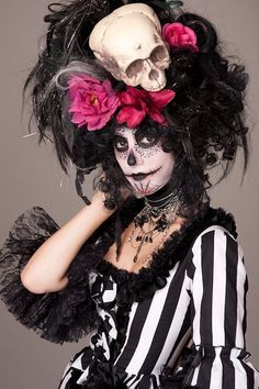 Black Witch Doctor Day of the Dead Skull Wig by CandyCrypt on Etsy ...