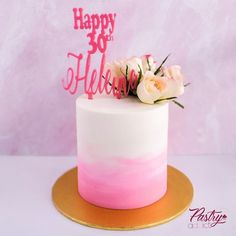 Pink ombre buttercream with a small floral arrangement and a custom cake topper. Call or email us to design your dream cake today! #30thbirthdayideas #ombrecakes #pinkbirthdaycakes #cakedecorating #floralbirthdaycakes #30thbirthdayparty #birthdaydinnerideas #womenbirthdaycakes #birthdaycakeforher Strawberry Buttercream, Chocolate Buttercream, Unique Cakes, Elegant Cakes, Custom Cake Toppers, Custom Cakes, Pink Birthday Cakes, Basic Cake, Cakes Today