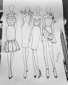 Discover recipes, home ideas, style inspiration and other ideas to try. Dress Design Drawing, Dress Design Sketches, Fashion Design Sketchbook, Fashion Design Portfolio, Fashion Design Drawings, Fashion Sketches, Croquis Fashion, Fashion Illustration Poses, Fashion Illustration Tutorial