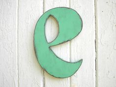 Vintage style wooden letter e small case alphabet typography letter wall art letters signs