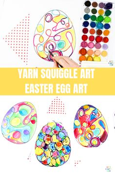 Fun Yarn Squiggle Art Easter Egg Activity for kids with a handy Easter Egg Template to print. With lines popping out from the page, the yarn adds a fun dynamic to regular line art concept. Easy Preschool Crafts, Easter Arts And Crafts, Bunny Crafts, Craft Activities For Kids, Easter Projects, Preschool Themes, Yarn Projects, Easter Ideas, Craft Ideas