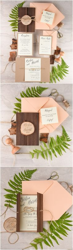 Rustic country real wood coral peach wedding invitations @4LOVEPolkaDots