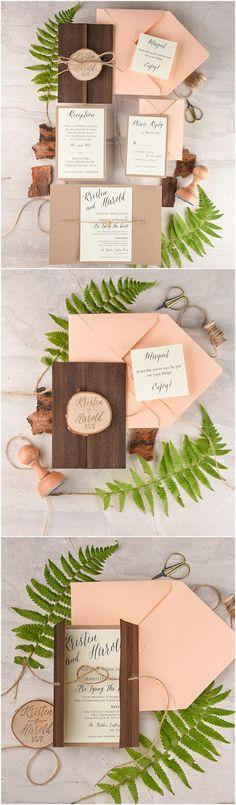 Rustic country real wood coral peach wedding invitations @4LOVEPolkaDots