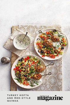 These tasty turkey kofta are served on a bed of protein-rich quinoa and Mediterranean salad with mint, tomatoes, cucumbers and olives. A healthy midweek meal, it's ready in just 30 minutes. Get the Sainsbury's magazine recipe Curry In A Hurry, Midweek Meals, Sainsburys, Food Trends, Turkey Recipes, Recipe Collection, Quick Easy Meals, Food Inspiration