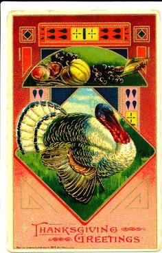 Art Deco Turkey and Fruit Thanksgiving Greetings | eBay