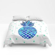 Maritime Pineapple Comforters Society6 Comforter Bedding Bed Sleep Decor