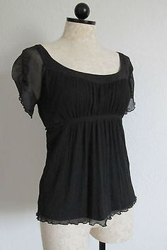 Black Gauze Peasant Style Boho Blouse Top with Attached Tank Top Lining- S