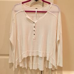 Free People Cream Henley Crop Top In excellent condition, very cute top. Free People Tops Blouses