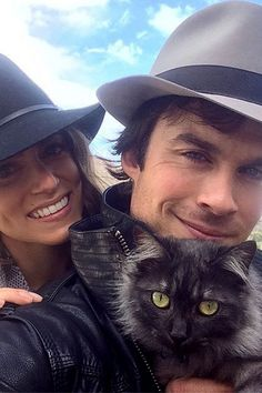 """Ian Somerhalder and Nikki Reed already own a horse together, and now they're proud parents to a cat as well. The Vampire Diaries heartthrob Instagrammed a selfie of the couple's new feline on Nov. 2, 2014, writing: """"The newest addition to the family. Her name is Sohalia."""