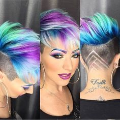 Coloured short pixie haircut