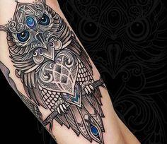 Mosaic Owl tattoo by Coen Mitchell