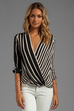 Halston Heritage Long Sleeve Printed Wrap Front Top in Black Stripe Print… Mode Outfits, Casual Outfits, Fashion Outfits, Wrap Front Top, Halston Heritage, Dress Sewing Patterns, Wrap Blouse, Revolve Clothing, Stripe Print