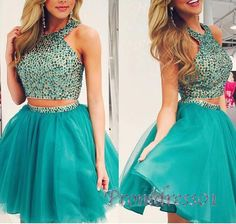 two pieces beading halter A-line short prom dress