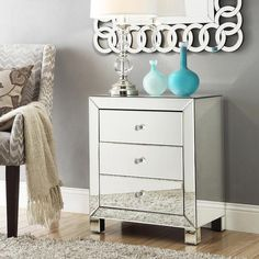 Nihoa Mirrored 3-drawer Accent Table | Overstock.com - mirrored accent table, mirror 3 drawer side table, mirrored nightstand. decorpad.com