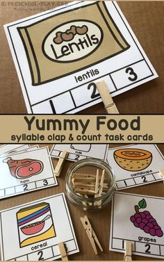 Printable Yummy Food Syllable Count & Clip Task Cards for preschool, pre-k, and kindergarten. A fun addition to any health & nutrition unit. Fine Motor Activities For Kids, Pre K Activities, Motor Skills Activities, Language Activities, Kids Learning, Rhyming Activities, Learning Games, Preschool Literacy, Early Literacy