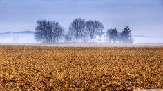 Kansas Farmhouse In The Mist