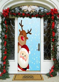 88 simple diy christmas door decorations for home and school 1 Diy Christmas Door Decorations, Christmas Door Decorating Contest, Christmas Classroom Door, Blue Christmas Decor, Noel Christmas, Office Christmas, Simple Christmas, Christmas Crafts, Reindeer Christmas