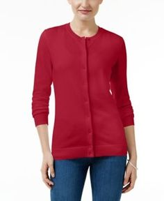 Karen Scott Petite Cardigan, Only at Macy's - Red P/XL