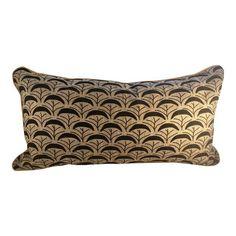 Vintage Art Deco style linen accent pillow by Villa