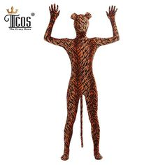 Adult Tiger Animal Sexy Costume Zentai Bodysuit Second Skin Tight Suit Full Body Unitard One Piece Halloween Cosplay Costumes