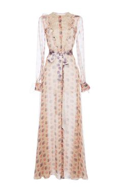 Chiffon Floral Printed Long Chemisier by Luisa Beccaria for Preorder on Moda Operandi