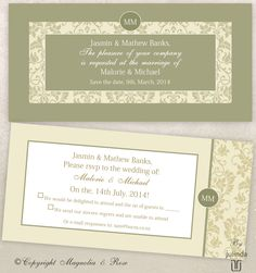'SAGE' #Wedding Invitations and Stationery collection.  An elegant design that blends beautifully with white, ivory, cream, bronze, sage, birch and vintage coloured green hues.