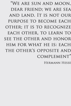 To learn how to see the other and honor him. Hermann Hesse