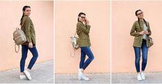 Un look con chaqueta militar, jeans y camiseta de rayas, ¡perfecto para cualquier ocasión!