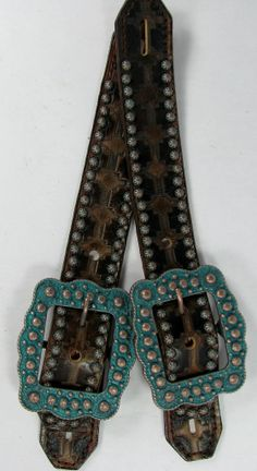 """""""Haywire"""" Aztec Tribal Spur Straps with Copper Patina Verdigris Dots and Buckles by Running Roan Tack"""